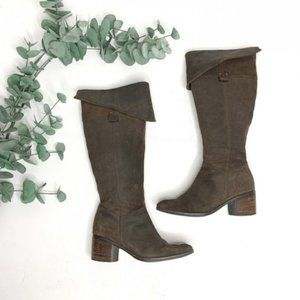 ⬇️$65 CLARKS Tall Brown Suede Fold-Over Boots